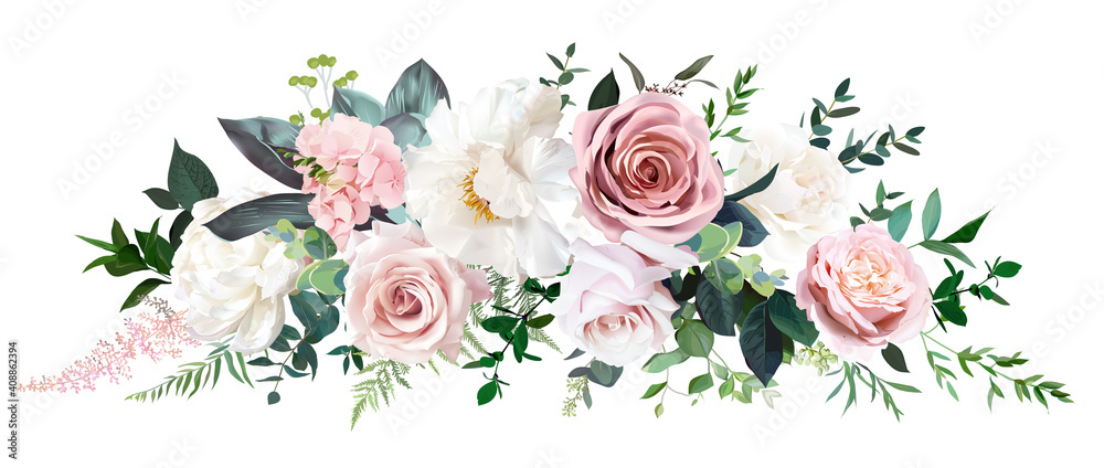 Fototapeta Dusty pink and cream rose, peony, hydrangea flower, tropical leaves vector garland