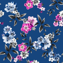Seamless Abstract Flowers Pattern, Floral Print.