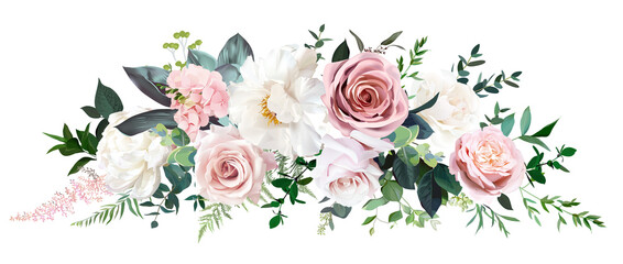 Dusty pink and cream rose, peony, hydrangea flower, tropical leaves vector garland