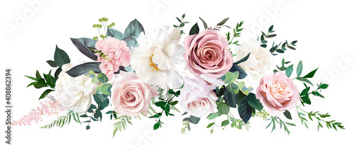 Fototapeta Dusty pink and cream rose, peony, hydrangea flower, tropical leaves vector garland obraz
