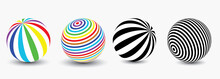 Striped Balls 3D. Colorful And Black And White, And In Color. Vector Spiral Diagonal Swirls Sphere With Optical Illusion Effect. Modern Minimalist Graphic Design.