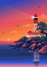 Lighthouse - Vector Landscape. Sea Landscape With Beacon On The Beach At Sunset. Vector Illustration In Flat Cartoon Style
