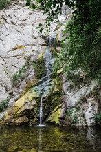 Vertical Shot Of The Sturtevant Falls In Angeles National Forest, California