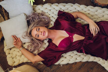 Extremely Beautiful And Sexy Young Adult Caucasian Woman With Honey Blonde Hair Wearing Lingerie In A Boudoir Bedroom Setting In Various Poses.