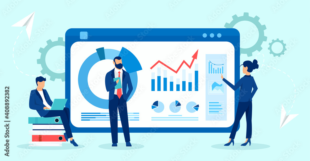 Fototapeta Vector of businesspeople business analytics team monitoring financial reports and investments