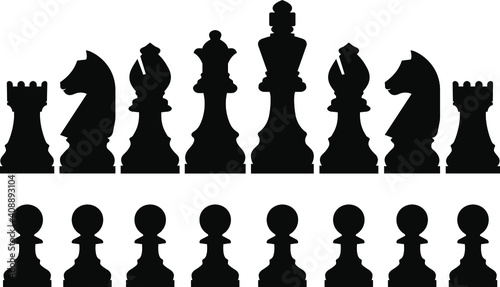 Obraz na plátně Chess pieces realistic vector graphics