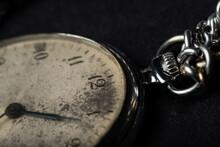 Old Pocket Watch On Black Background