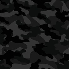 Military Camo Print. Gray Camo Print. Tree Dark Grunge. Modern Black Pattern. Black Hunter Pattern. Seamless Vector Background. Digital Urban Camouflage Seamless Paint. Vector Dark Woodland Camouflage