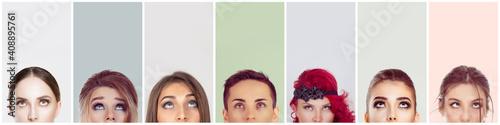 Fotografía Collage of crop portrait cute women looking up