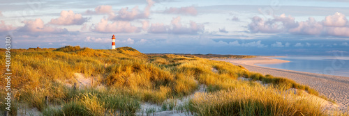 Lighthouse at the dunes beach on the island of Sylt, Schleswig-Holstein, Germany