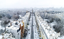 Aerial View Of Snowy Notting Hill Area In London