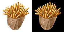 French Fries Hand Drawn Watercolor Illustration For Fast Food Snack Menu Design. Yellow Fried Potato Sticks In The Box Isolated On White And Black Background