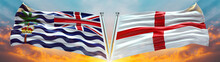 England Flag And Commissioner Of The British Indian Ocean Territory Flag Waving With Texture Sky Cloud And Sunset Double Flag