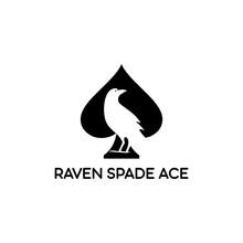 Black Silhouette Raven In Spade Ace Logo Vector