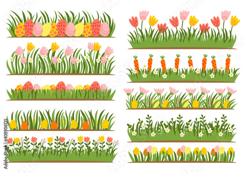 Canvas Print Easter eggs on the grass with a flower set