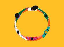 Colorful Friend People Group Hug Circle Cartoon