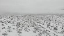 Desert Snow Trail.  Steady Pan Across.  Red Rock Canyon.  Las Vegas, NV 4K Drone.