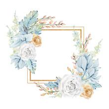 Watercolor White And Blue Floral Frame With Golden Rose, Pampas Grass, Wild Flower. Botanical Golden Glitter Texture Illustration For Greeting Card, Wedding Card, Baby Shower, Bridal Shower.