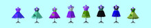 Set Of Poodle Skirts Cartoon Icon Design Template With Various Models. Vector Illustration Isolated On Blue Background