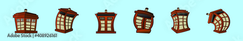 Fototapeta set of tardis police phone box cartoon icon design template with various models