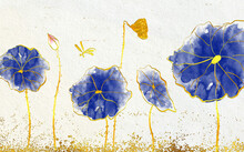 Drawn Watercolor Golden Water Lilies With Blue Leaves On Beige Background