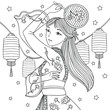Girl in traditional clothes with fan dancing. Celebration of chinese new year. Vector outline illustration for coloring book for adults.