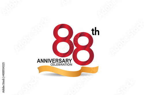 Papel de parede 88 anniversary design logotype red color and golden ribbon for celebration isola
