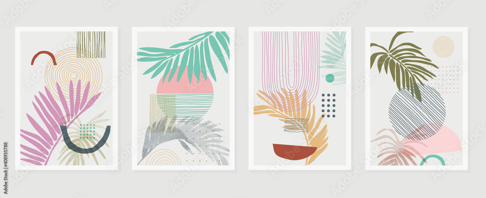 Fototapeta summer tropical wall arts vector. Palm leaves, monstera leaf, Botanical  background design for wall framed prints, canvas prints, poster, home decor, cover, wallpaper.