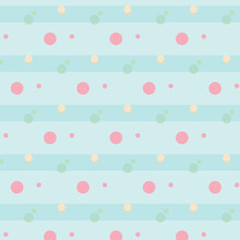 Pink Blue Green Polka Dot Seamless Pattern Background