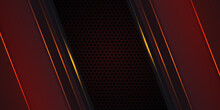 Dark Red Carbon Fiber Background With Orange Luminous Lines And Highlights. Luxury Futuristic Modern Technology Background.