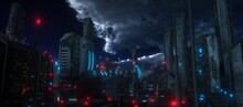 Dark Night In A Cyberpunk City. Futuristic Skyscrapers With Red And Blue Neon Lights Against The Night Sky With Clouds. Cyberpunk Style Wallpaper. City Of The Future. 3D Illustration.