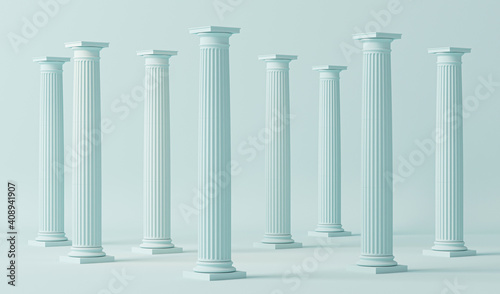 Minimal scene in pastel blue with marble colonnade and classic columns in ancient Greek style Fototapeta