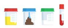 Medical Analysis Laboratory Test Urine Stool, Semen And Blood In Plastic Jars. Web Site Page And Mobile App Design Element. Chemical Laboratory Analysis. Vector Illustration In Flat Style