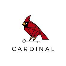 Cardinal Bird Key Geometric Polygonal Line Logo Vector Icon Illustration