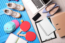 Flat Lay Composition With Business Supplies And Sport Equipment On Color Background. Concept Of Balance Between Work And Life