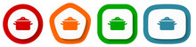 Cook Vector Icon Set, Flat Design Pot Buttons On White Background For Webdesign And Mobile Phone Applications