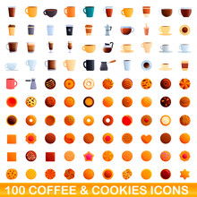 100 Coffee And Cookies Icons Set. Cartoon Illustration Of 100 Coffee And Cookies Icons Vector Set Isolated On White Background