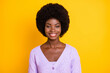 canvas print picture Portrait of positive dark skin lady beaming smile wear purple outfit isolated on yellow color background