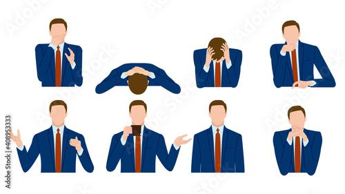 Obraz na plátně ビジネスマンの身振り、手振り、ポーズ
