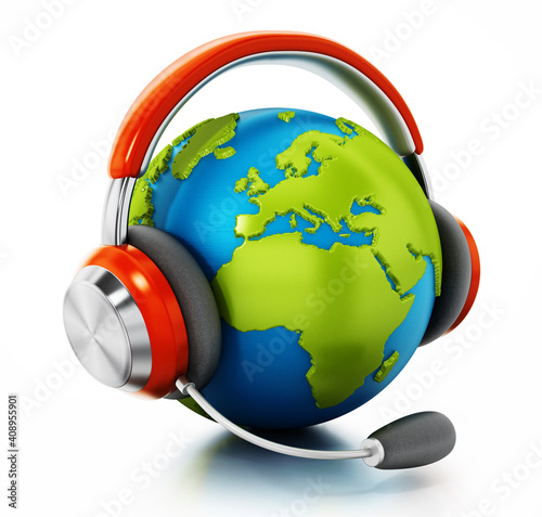 3D globe with headphones and microphone isolated on white background. 3D illustration © Destina