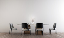 The Mock Up Room Interior Design Of  Minimal Dining Room And Empty Wall Pattern Background, 3d Rendering