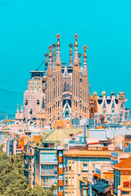 Basilica Of La Sagrada Familia Against Blue Sky. Creations Of Th