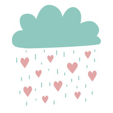 Blue Rainy Cloud With Heart Shape Raindrops. Romantic Element For Design Poster For Children's Room Decor, Greeting Card, Save The Date. Flat Vector Illustration Isolated On A White Background.