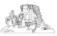 Bedouins Take A Rest In The Oasis. Arab Horses In The Desert. Outline Drawing.