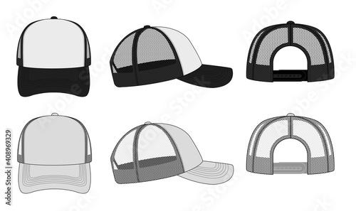 Foto trucker cap / mesh cap template illustration (white & black).