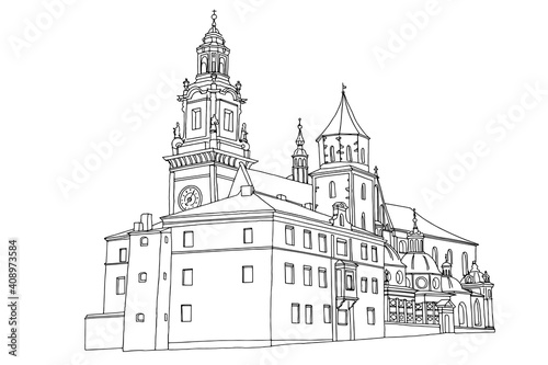 vector sketch of The Royal Archcathedral Basilica of Saints Stanislaus and Wenceslaus on the Wawel Hill Fotobehang