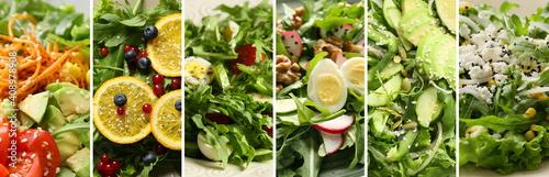 Obraz Collage of different arugula salads, closeup - fototapety do salonu