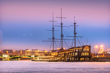 Restaurant On A Ship On The Neva River In St. Petersburg