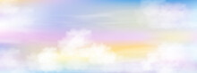 Colour Sky With White Clouds Background, Vector Mesh Of Nature Pink, Yeloow And Orang Sky In Summer Or Spring,Horizon Sunset Or Sunrise  And Fluffy Cloud In Morning