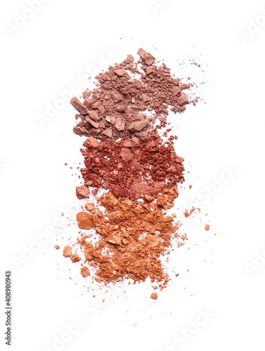 Tablou Canvas Different crushed eyeshadows on white background